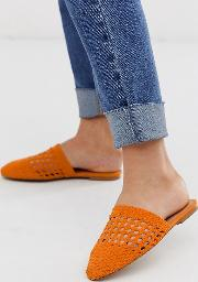 Wide Fit Motto Woven Mules