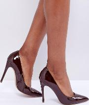 Wide Fit Paris Pointed High Heeled Court Shoes Espresso