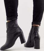 Wide Fit Rescue Leather Block Heel Boots