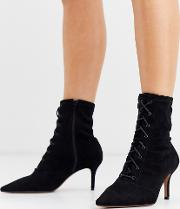 Wide Fit Respect Lace Up Kitten Heel Boots
