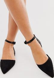 Wide Fit Valuate Pointed Ballet Flats