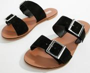 Wide Fit Victorious Leather Buckle Sliders