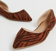 Wide Fit Virtue D'orsay Pointed Ballet Flats Tiger