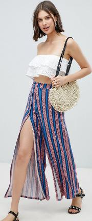 design wide leg trousers with split front in aztec stripe print