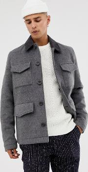 Wool Mix Field Jacket With Cord Collar