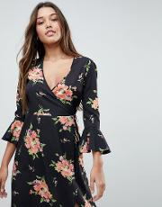 Wrap Midi Dress With Fluted Sleeve