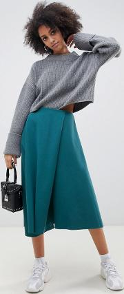 Wrap Midi Scuba Skirt With Asymmetric Hem