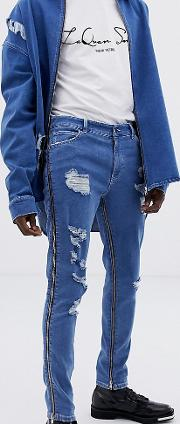 X Laquan Smith Skinny Jeans With Zip Detail