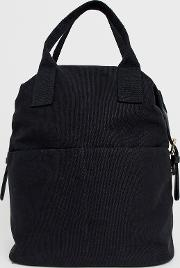 Zip Over Canvas Backpack With Double Handle