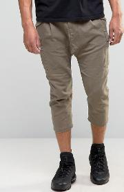 Drop Crotch Cropped Trousers With Cargo Styling