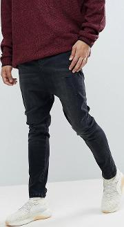 Drop Crotch Jeans In Washed Black With Rips