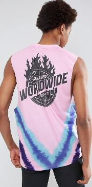 dropped armhole sleeveless t shirt with worldwide tie dye print
