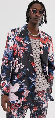 Oversized Double Breasted Suit Jacket With Dark Floral Print