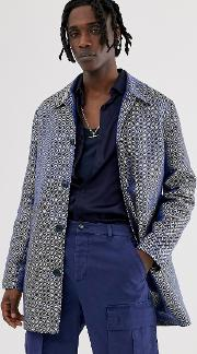 Single Breasted Trench Coat Print
