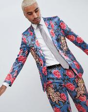 skinny suit jacket  blue floral print with tiger patches