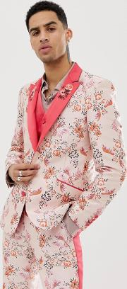 Skinny Suit Jacket Floral Jacquard With Embroidered Lapel