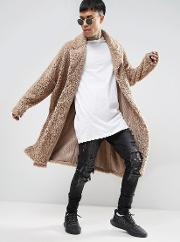 extreme oversized borg duster coat in beige