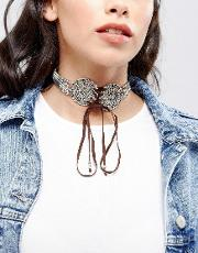 festival lace up choker necklace