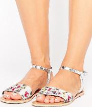 Fizzy Wide Fit Leather Embellished Flat Sandals