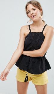 high neck cami with lace inserts