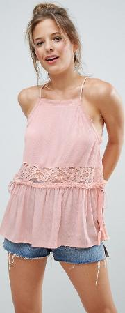 high neck crinkle cami with lace trim & tassels