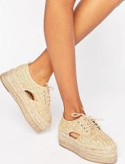 jasper chunky lace up espadrilles natural