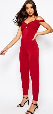 Jersey Jumpsuit With Drape Halter And Peg Leg