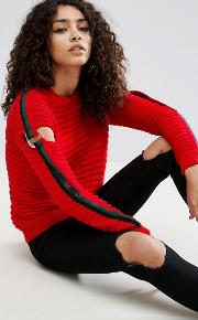 jumper in rib with d ring stripe sleeve detail