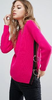 jumper with side split and ring detail