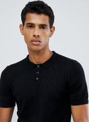 Knitted Muscle Fit Polo In Black
