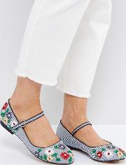 lily embroidered ballet flats