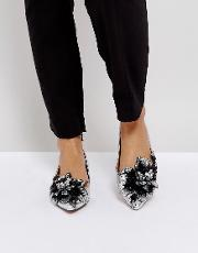 lily of the valley embellished ballet flats