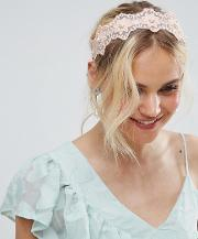 limited edition fine lace crochet and pear flower headband