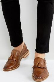 Loafers In Tan Leather With Natural Sole And Fringe Detail
