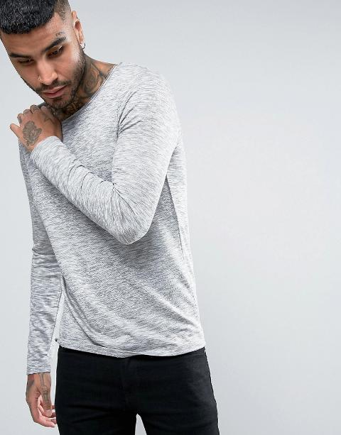 long sleeve t shirt in space dye with scoop neck