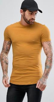 Longline Muscle Fit  Shirt With Crew Neck And Curve Hem