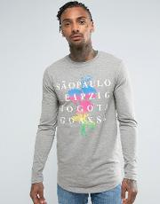 Longline Muscle  Sleeve T Shirt With City Print