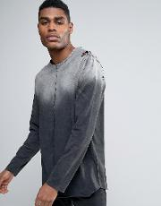 longline  sleeve t shirt  gradient acid wash with distress and curved hem