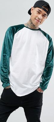Longline  Sleeve T Shirt With Velour Raglan Sleeves And Curve Hem