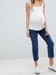 asos design maternity authentic straight leg high waisted jeans in dark stone wash with raw hem and under  bump