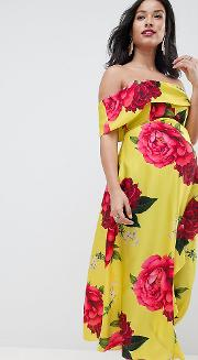 asos design maternity bandeau dress with dipped hem in floral print