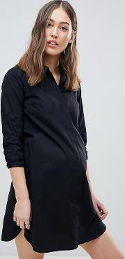 asos design maternity cotton mini shirt dress