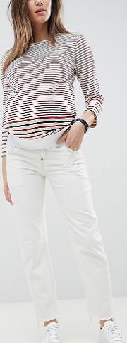 asos design maternity florence authentic straight leg jeans in white with contrast stitch  under  bump waistband