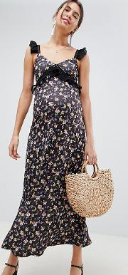 asos design maternity maxi dress in ditsy print with ladder trim