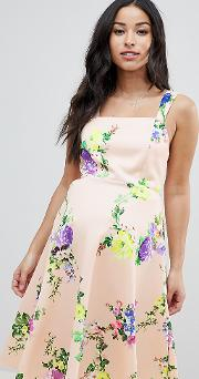 asos design maternity midi floral prom dress with square neck