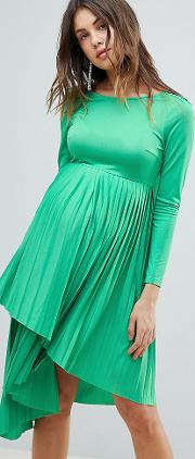 asos design maternity pleated long sleeve midi dress