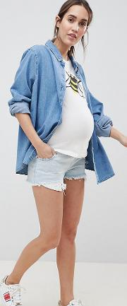 asos design maternity tall denim alvey mid rise short with raw hem in light wash blue