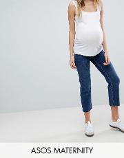 authentic straight leg high waisted jeans in dark stone wash with raw hem and under  bump waistband