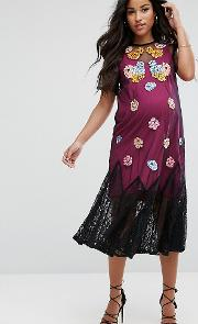 Bright Embroidery Mesh Dress
