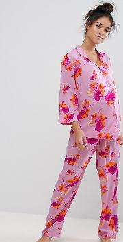 Bright Floral Shirt & Trouser Pj Set
